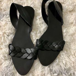 Zara Basic Collection Black Sandals Braided Strap